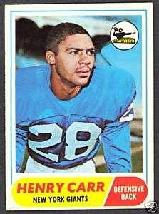 1968 TOPPS FOOTBALL #57 HENRY CARR NEW YORK GIANTS CARD