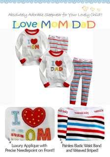 Baby & Toddler Gril BOys Sleepwear Pajama set  Love MoM DaD