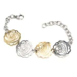 Steel Two Tone Link Bracelet For Women with 4 Rose Links   7.5 Length