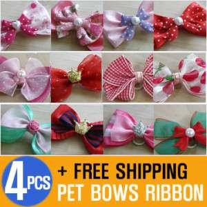 Pet Dog Cat Hair Bows Ribbon Rubber band new 4 Pcs KOR
