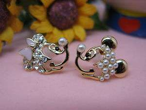 Very Lovely Mickey Minnie Mouse rhinestones & Pearl stud Earrings