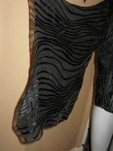 NWT MING WANG Black Silk Sheer Burn Out Zebra Elegant Evening Jacket S