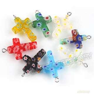 20pcs Mixed Millefiori Glass Cross Bead Pendants 140187