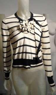 SONIA RYKIEL Black/Ivory Stripe Assymetrical/Ruched Flower Cotton