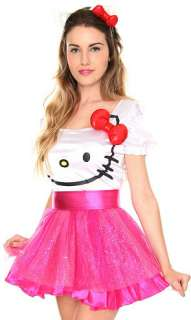 HELLO KITTY~ I AM RED BOW PINK GLITTER TULLE COSTUME DRESS BELT