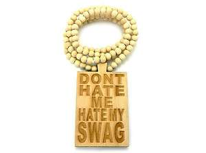 HIP HOP WOOD NECKLACE HATE MY SWAG PENDANT W/ 36 WOODEN BALL CHAIN