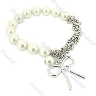 Fashion Lovely Imitation Pearl Bowknot Bangle Bracelet