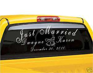 Just Married Personalized Vinyl Car Decoration Decal