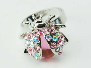 Enamel Body Silver Tone Crystal Rhinestone Ladybug Bug Ring