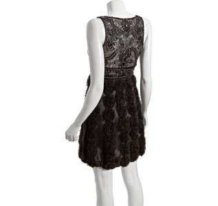 SUE WONG V NECK ROSETTE DETAIL DRESS, Black, 4, $ 570.0