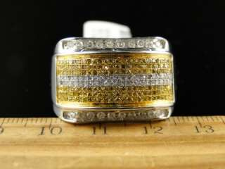 MENS WHITE GOLD PINKY FASHION BAND GENUINE CANARY WHITE DIAMOND RING 1
