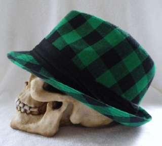 FEDORA TRILBY GREEN CHECKERED EMO PUNK ROCK GOTH HAT