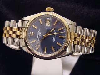 Mens Two Tone 14k Gold/Steel Rolex Date Watch W/ Blue Dial