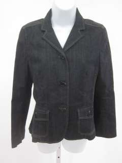 THEORY Dark Wash Denim Button Front Blazer Jacket Sz M