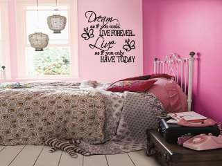 DREAM LIVE Girls Teen Bedroom Vinyl Wall Art Decal