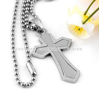 New Mens Stainless Steel Big Cross Pendant Ball Chain Necklace 19