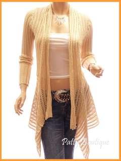 Trendy Asym Hem Long Slevee Ribbed Cardigan Sweater