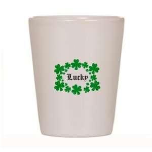 Lucky Shamrocks Ceramic Shot Glass