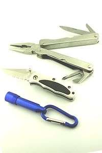 Multi Function Pocket Utility Tool,+ Lock Back Knife & Keychain LED