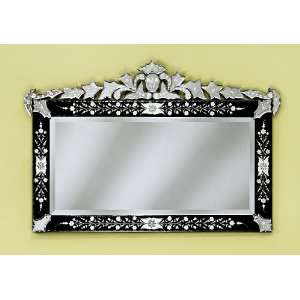 New Loreta Black Hand Carved Venetian Wall Mounted Mirror