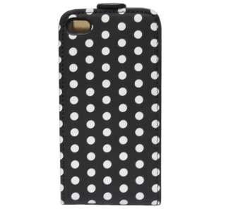 Black Leather Polka Dots Case Cover For iPhone 4 4G 4S