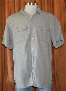 REPUBLIC SHORT SLEEVE KHAKI TAN GRAY CASUAL FLAX LINEN SHIRT MENS XXL