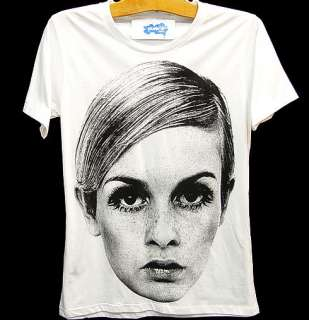 TWIGGY LAWSON 60s Model Icon Rock T Shirt Kate Moss S/M
