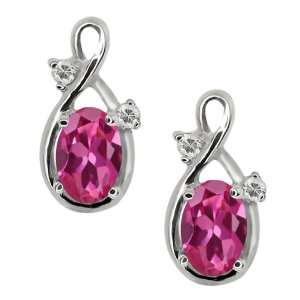 Oval Pink Tourmaline and White Topaz 14k White Gold Earrings Jewelry