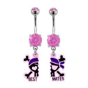 Pink Skull Crossbones pirate Best Mates Best Friend dangle set Belly
