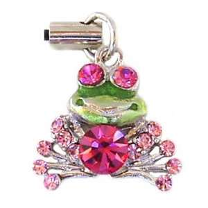 Cute Pink Crystal Frog Cell Phone Charm Strap c26