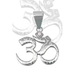 OM Aum Hindu or Yoga Symbol Antiqued Sterling Silver Medallion Pendant