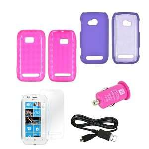 For Nokia Lumia 710 5 item Combo Hot Pink Crystal Silicone