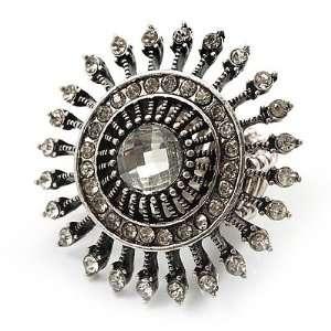 Vintage Filigree Crystal Stretch Ring (Burn Silver Metal