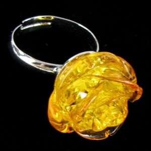 20mm honey amber carved rose flower ring size 5 7 S1