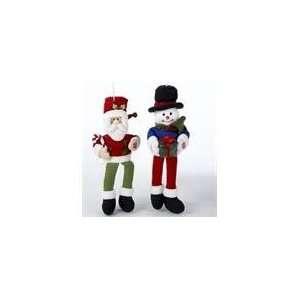 Pack Of 6 Singing Sitting Santa Claus & Snowman Christmas
