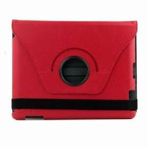 IntMall Red 360 Rotatable Leather Case Cover for iPad 2 Electronics