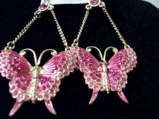Basketball Wives Earrings 3 1/4  Bling crystal metal butterflies cute