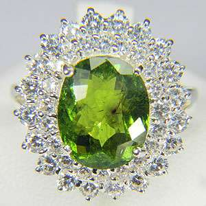 NATURAL OVAL GREEN TOURMALINE 925 SILVER RING SIZE 7.75