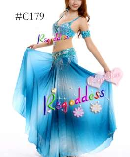 High quality light blue belly dance costu me bra&skirt&belt