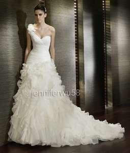New Custom One shoulder Chapel White/Ivory Wedding Dress Bridal Gown