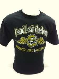 Deadbeat Customs Motorcycle T Shirt Black Chopper Bobber
