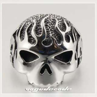 Rock & Punk 316L Stainless Steel Fire Skull Men`s Biker Ring L034