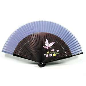 Handmade Bamboo & silk hand fan   flower and butterfly