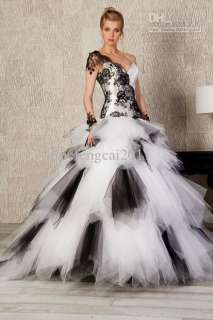 Fashion One Shoulder prom ball gown wedding dress pageant Formal gown