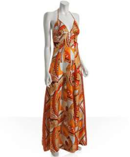 Walter orange scarf paisley silk halter maxi dress