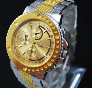 New Luxury Gold Quartz Gents Man Wrist Watch Gift #140