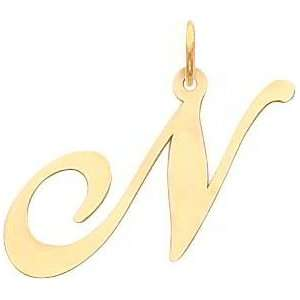 Fancy Cursive Letter N Charm 14K Gold: Jewelry