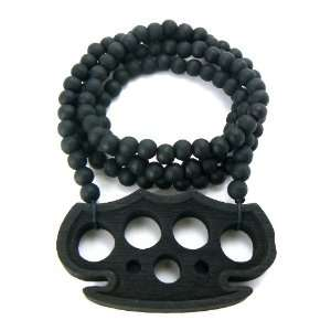 Black Wooden Brass Knuckles Pendant with a 36 Inch Wood