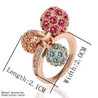 R28 New 18K rose Gold plated Swarovski crystal 3 color ball Ring size