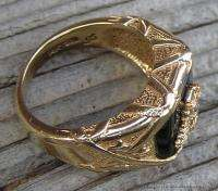 Vintage Mens 14k Yellow Gold Diamond Ring Double Headed Eagle w Navy